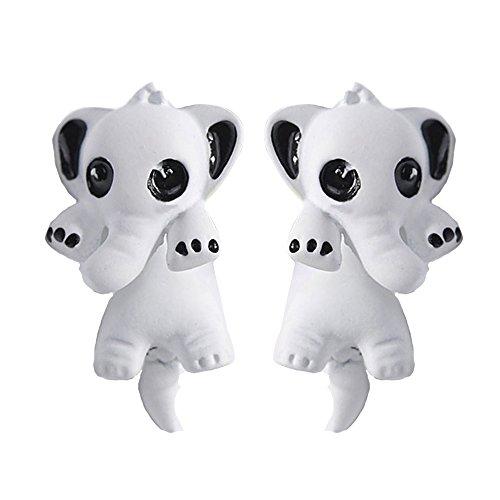 Merssavo Pendientes Animales Estereoscópicos Lindos 3D de la Arcilla del Polímero del Elefante de los Pendientes Blanco