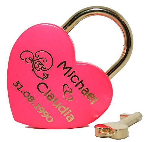NEU Liebesschloss Herz in Neon Pink -gold mit individueller Gravur Groß 60x45 mm Vorhängeschloss