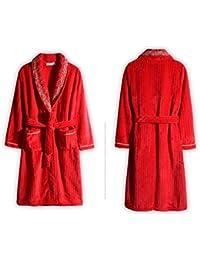 Pajamas Traje de Pijama, algodón con Bolsillos camisón, otoño e Invierno Sra. De poliéster Rojo Espesar Pijamas de sección Larga y Media, M-L-Xl-Xxl-Xxxl-4Xl,X-Large