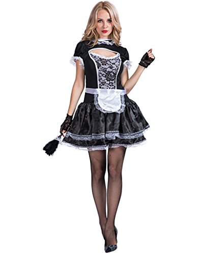 EraSpooky Damen Sexy Zimmermädchen Kostüm Zofe French Maid Dienstmädchen Karneval Kleid (Dienstmädchen Kleid Kostüm)