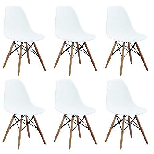 Set di 6 SEDIE di Design Moderne in ABS Bianco Struttura in Metallo Verniciato Nero Gambe in Legno MASSELLO di FAGGIO per Sala da Pranzo Cucina Ristorante Bar Hotel Ufficio Sala Camera da Letto