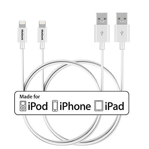 [2-Pack] MaGeek® [Apple MFi Zertifiziert] 1.0m Lightnin Kabel Schnelles und Beständiges für iPhone XS Max/X / 8 Plus /7 Plus/6s/6s Plus/6/6 Plus/5s/5, iPad mini/4/3/2, iPad Pro Air 2(Weiß)
