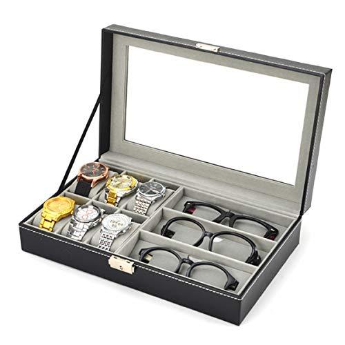 Lovinn Aufbewahrungsbox für Sonnenbrillen und Uhren, PU-Leder, 3 Raster-Sonnenbrillen, 6 Zellen, Aufbewahrungsbox für Uhren