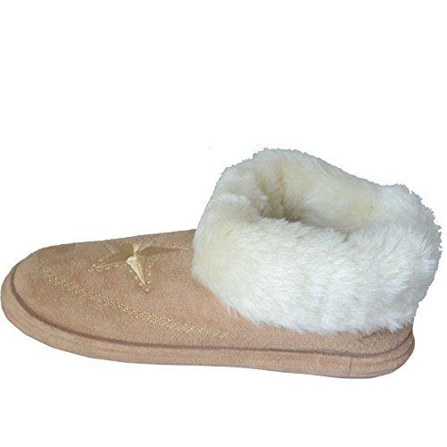 Damen Hausschuhe Stiefel Winter Warm Manschette Fur Stiefel Schuhe Größe EU 36 - 7 Braun Sandy