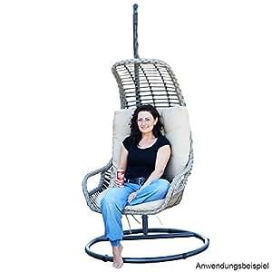 poly rattan h ngekorb h ngesessel gartenm bel h ngeschaukel h ngesitz lounge in grau. Black Bedroom Furniture Sets. Home Design Ideas