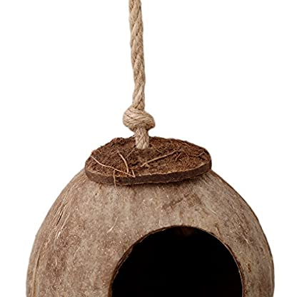VWH Natural Coconut Shell Bird House Nesting Hut For Pet Parrot Budgie Parakeet Cockatiel Canary Finch Pigeon Hamster… 4