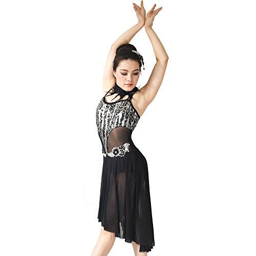 midee Damen Pailletten Camisole Illusion geben, mit blumigen Lyrical Kleid Dance Kostüm, schwarz, IC (Schwarz Contemporary Dance Kostüm)