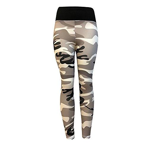 QINPIN Rückseite tarnfarbe faltet Yoga-Hosen der Frauen Grau M