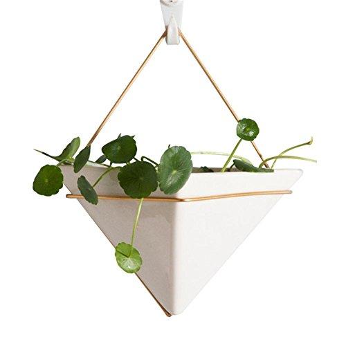 SinceY blumentopf hängen hängende deko, Skandinavischen Stil Weiße Keramik Blumentopf Goldene Eisen Blumentopf Grünpflanzen Sukkulenten Wasserkulturpflanzen Topf Innendekoration