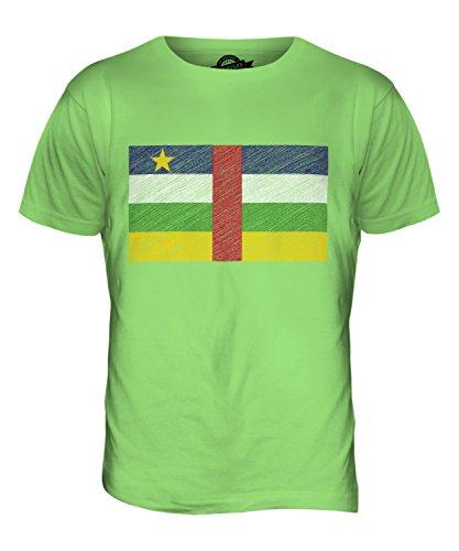 CandyMix Zentralafrikanische Republik Kritzelte Flagge Herren T Shirt Limettengrün