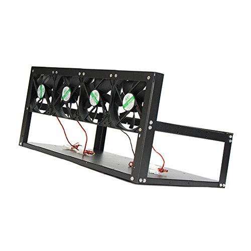 Espeedy 6 GPU Mining Rig Aluminum Case + 4 Fans Open Air Frame para ET