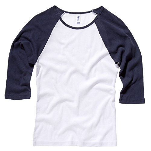 Bella Canvas Baby Rib 3/4 Sleeve Raglan Contrast T-Shirt White / Navy