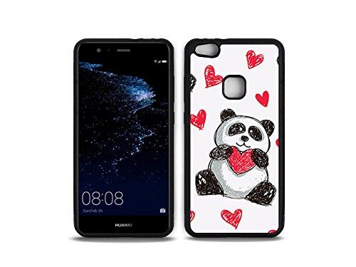 etuo Huawei P10 Lite - Hülle Hybrid Fantastic - Panda mit Herz - Handyhülle Schutzhülle Etui Case Cover Tasche für Handy