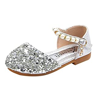 IGEMY_ Pearl Shoes Baby Girl, Toddler Infant Kids Baby Girls Pearl Bling Sequins Single Princess Shoes Sandals Silver