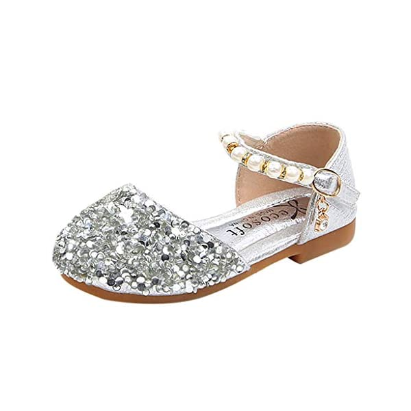 VECDY Zapatillas Bebe Niño, Sandalias Bebe Niñas Perlas, Lentejuelas Bling,Zapatos Princesa Sandalias para Bebé De… 3