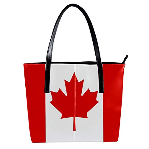Women's Bag Shoulder Tote handbag Canada Flag print Zipper Purse PU Leather Top-handle Zip Bags