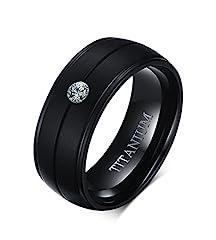 Idea Regalo - Vnox Titanio puro uomo 8mm Cubic Zirconia nozze Comfort Fit fidanzamento anello della fascia nera,Dimensione 22