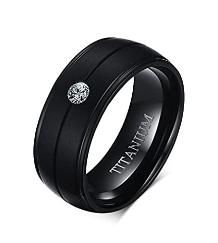 Vnox 8mm Men's Pure Titanium Cubic Zirconia Comfort Fir Wedding Engagement Band Ring Black UK Size R 1/2