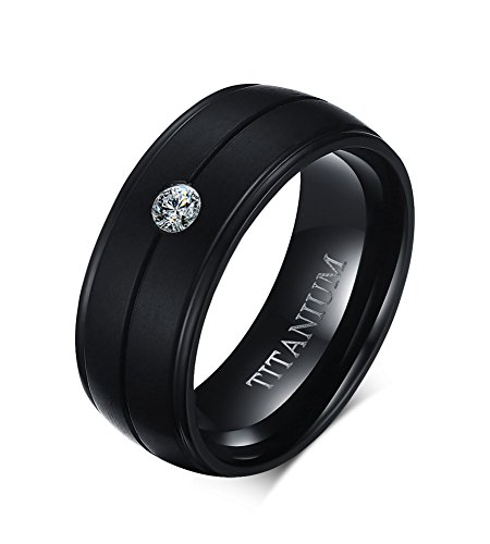 Vnox 8mm Herren Pure Titanium Cubic Zirconia Komfort Fit Hochzeit Engagement Band Ring Schwarz