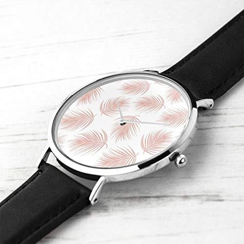 Unisex Ultra Thin Fashion Minimalist Armbanduhren Palm Leaves Muted Dark Pink Wasserdicht Quarz Casual Watch Mens Womens -