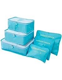 Xnuoyo 6 Set Cubos de Embalaje Organizadores de Equipaje de Viaje Accesorios de Almacenamiento Bolsa de Viaje Organizador de Equipaje - Paquetes de clasificación de Ropa Multifuncional