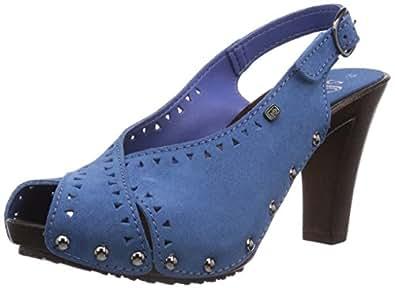 s.Oliver  28337, Escarpins à bout ouvert femme - Bleu - Blau (Denim 802), 41 EU