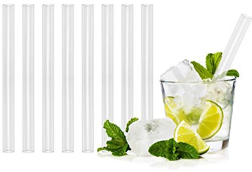 T&N Glas Strohhalm 8er Set - 15 cm Trinkhalme Glas + 2 Bürsten - Strohhalm wiederverwendbar Glas - umweltfreundlich, mehrweg - Cocktail-Strohhalme - Caipirinha, Hugo, Mojito, Aperol Spritz