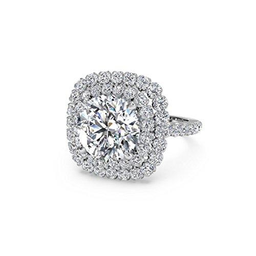 Moderner Runder Schnitt (1,40ct rund Moissanit Verlobung Diamant Ring Sterling Silber Weiß Gold Finish Größe M N O)
