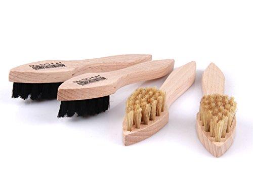 Die Schuhanzieher 4 Stück Set Cremebürsten – Tiegelbürsten aus Holz – mit festen Natur Borsten z2346(hell/dunkel)