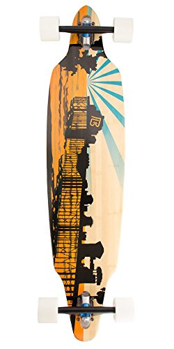 Bamboo Skateboards Directional Drop Through Sunset Pier Graphic Complete Skateboard, 41.13
