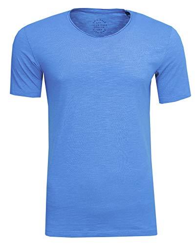 Bonnie Blue Stoffen (JACK & JONES Herren T-Shirt JORBirch Tee SS V Neck Basic Slim Fit, (Bonnie Blue,L))