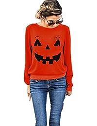 387d2c46d8ee Amlaiworld Halloween Orange locker Sweatshirt damen mit aufdruck kürbis  lächelnd pullover warm weich Herbst Winter pulli