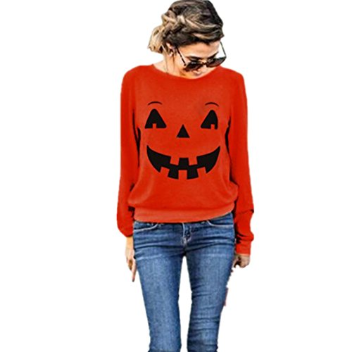 Amlaiworld Halloween Orange locker Sweatshirt damen mit aufdruck kürbis lächelnd pullover warm weich Herbst Winter pulli halloween kostüm (XL, Orange)