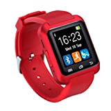 morehappy7 Bluetooth Smart Watch, Smartwatch Fitness Tracker Armband mit Schrittzähler/Musik Player/CALL Reminder/Fernbedienung Kamera, Smart Gesundheit Armbanduhr für Apple iPhone Samsung, rot, u8 smart watch - red