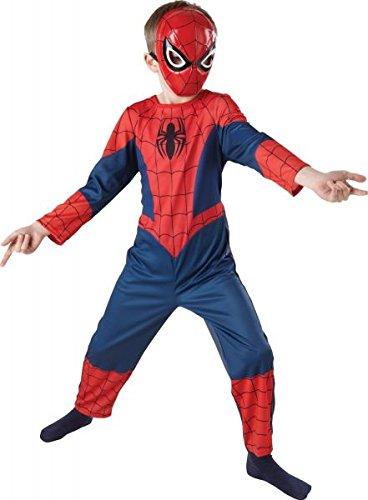 Jungen Spiderman Kostüm Kinder Overall Verkleidung Marvel Superheld Halloween Outfit Größe 98 bis 134 - Rot, 116-122