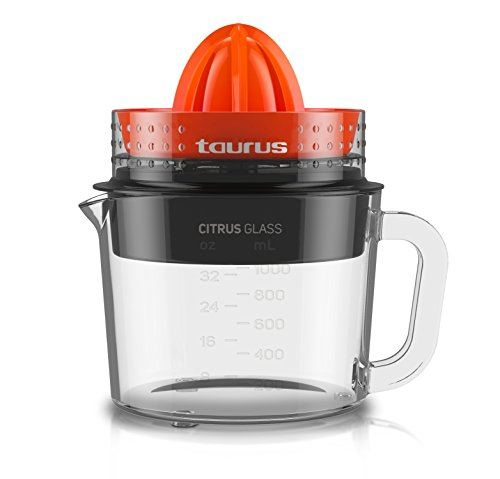 Taurus Citrus Glass Exprimidor, Rotación de Doble Sentido, 30 W, 1 Liter, 0 Decibelios, Plástico...