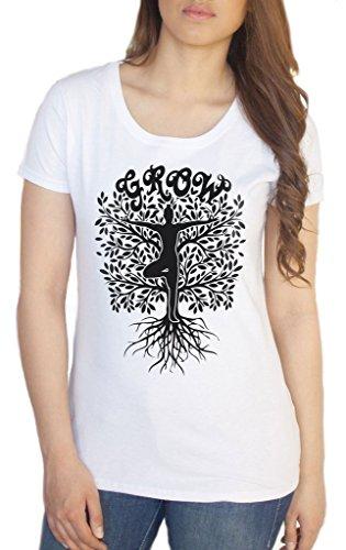 Irony Camiseta para Mujer Grow Yoga Tree Buda Meditación Pose TS1443