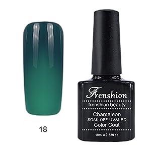 Frenshion 10ml Vernis à Ongles Caméléon Semi Permanent UV/LED Gel Polish Soak-Off Base Top Couleur Température Changée 18