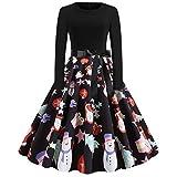 Donne Natale Mini Abito, Donne Natale Babbo Natale Pattinatore Signore Pupazzo di Neve Swing Dress Abito Vintage Elegante