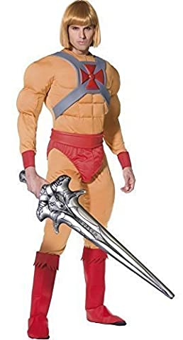 Hommes He-Man avec Gonflable épée il Man Prince Adam 1980s Dessin Animé TV Enterrement De Vie De Garçon Costume Déguisement - Beige, Medium