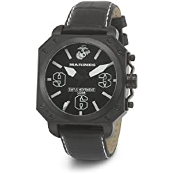 Wrist Armor Men's WA142G C4 Stainless Steel Analog Display Swiss Quartz Watch with Black Leather Strap