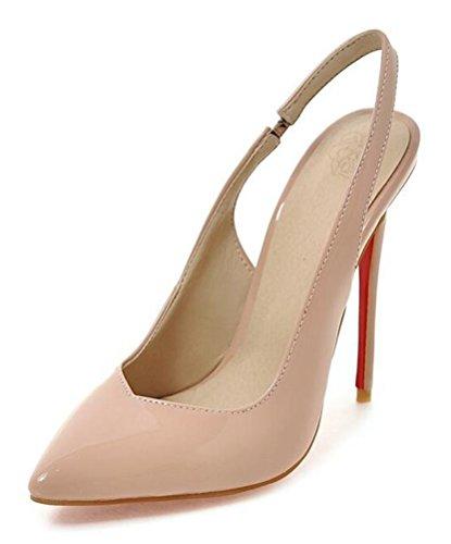 Easemax Damen Elegant Spitze Zehe Patent Slip On High Heels Pumps Sandalen mit Absatz Aprikosen 38 EU