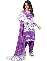 MEGHALYA Women's Satin Cotton Dress Material (White Satin Cotton Dress-4008)