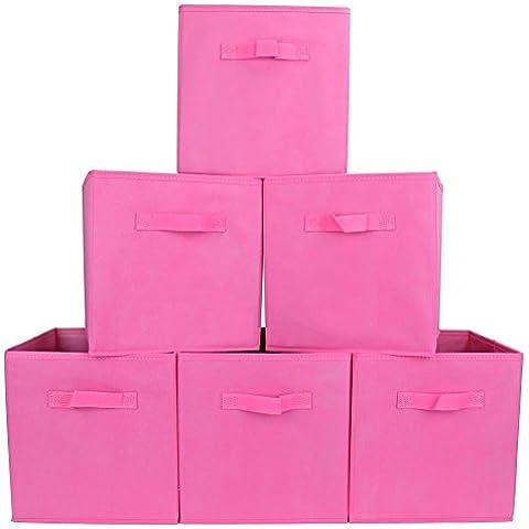 EZOWare Caja de Almacenaje con 6 pcs, Set de 6 Cajas de juguetes, Caja de Tela para Almacenaje,Rosa
