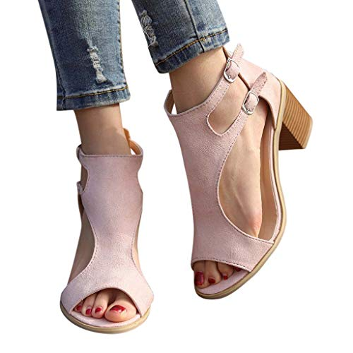 Preisvergleich Produktbild Yvelands Damen Sandalen Zehentrenner Frühlings Sommer Sandalen Mode Fisch Mund höhlen heraus Rom-Schuhe aus elegant Plateau bequem(CN-39, Rosa)