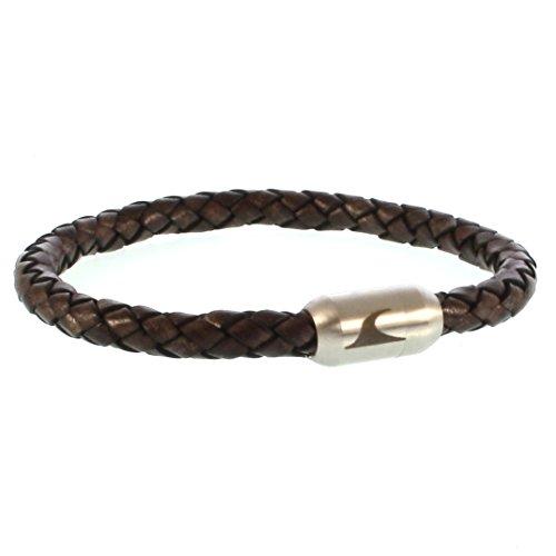 WAVEPIRATE® Echt Leder-Armband Sylt G Braun/Silber 23 cm Edelstahl-Verschluss in Geschenk-Box Surfer Damen Herren