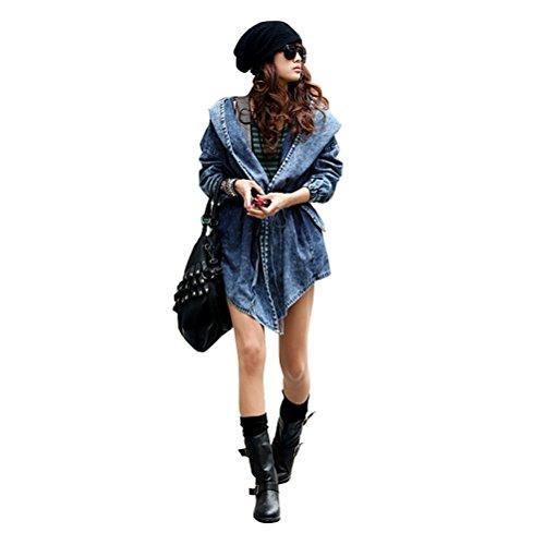 Museya Ragazze maniche lunghe Trench Coat capispalla con cappuccio medio-lungo Jean giacca di jeans stile retrò delle donne - formato libero (blu)