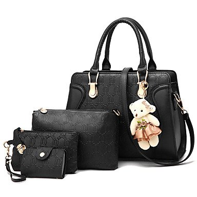 Moda femminile spalla Soid Crossbody Messenger Bag Imposta/borsette Tote,Nero Black