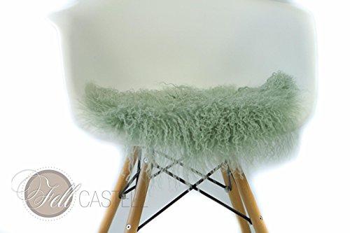 Stuhlauflage aus Tibetlammfell rund ungepolstert Ø 38 cm smoke green