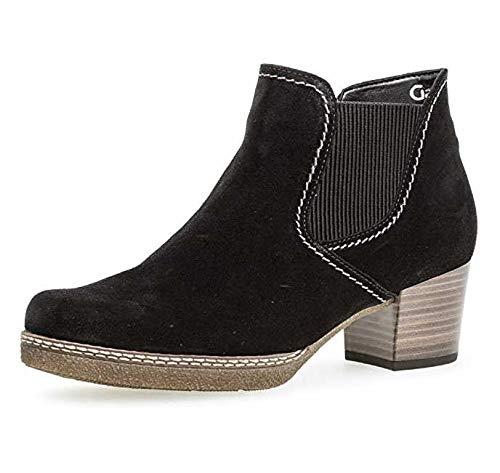 Gabor Damen Chelsea Boots 96.661,Frauen Stiefel,Halbstiefel,Stiefelette,Bootie,Schlupfstiefel,Hoch,Blockabsatz 3.5cm,Einlegesohle,G Weite (Normal),schw.(S.n/A.ma/Mi),UK 3.5